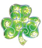 Impact Innovations Foil Color Block Lighted Window Decoration with Prismatic Scroll, Green Shamrock