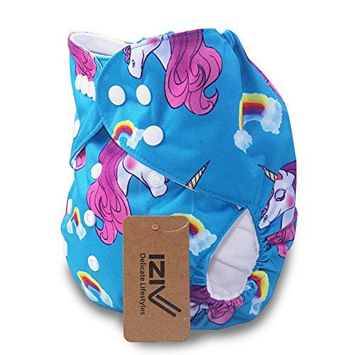 iZiv(TM) Neugeborene Organisch mit 1 Dick Insert wasserdichte Säuglings/Einstellbare/Fachverwendbare/Waschbare Tuch Windeln für Babys 0-3 Jahre(Einhorn)