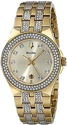 Bulova Women's 98M114 Crystal Stainless Steel Watch