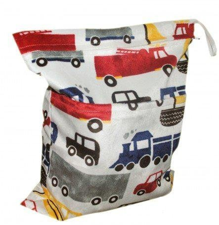 LOVE MY(TM) Solid Baby Wet and Dry Cloth Diaper Bag,Car Printed
