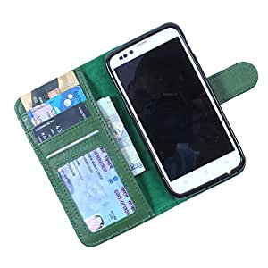 Dooda Genuine Leather Wallet Flip Case For Huawei Ascend Y210D (GREEN)