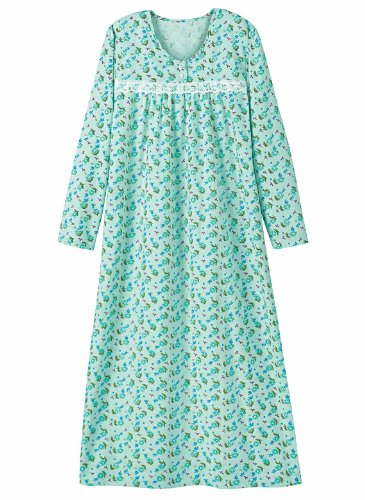 Printed Flannel Gown - Women'S Sizes, Color Mint, Size 1X