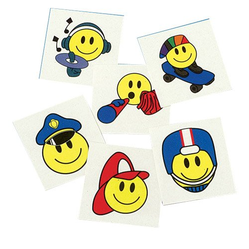 Set Of 144 Assorted Smiley Smile Face Temporary Tattoos