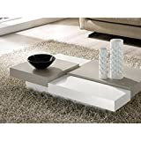 Zamagna - Table basse design FLAT - laque blanc et gris tourterelle - deco...