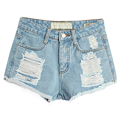 Baymate Donna Vintage Vita Alta Jeans Strappato Shorts Denim Pantaloncini Corti Chiaro Blu 44
