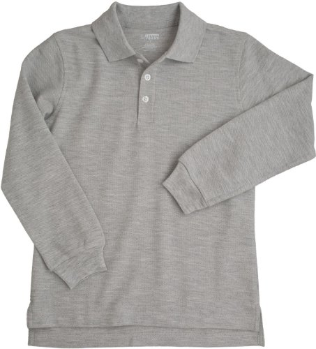 French Toast School Uniforms Long Sleeve Pique Polo Boys Heather Grey 4 front-10111