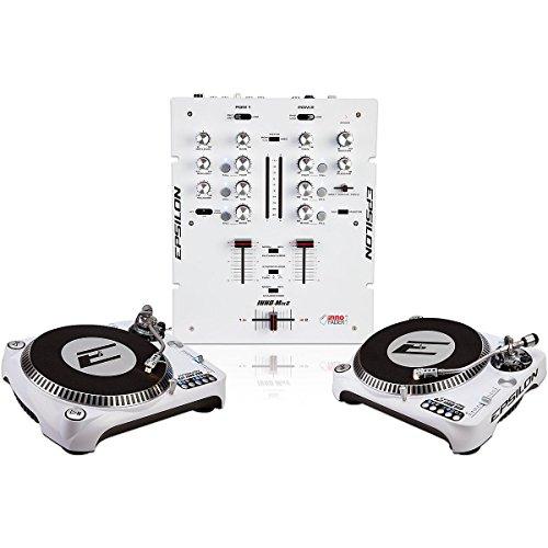 EPSILON INNO-PROPAK DJT-1300 USB Turntable (2) and INNO-MIX2 Mixer (1) White (Turntable Pair compare prices)