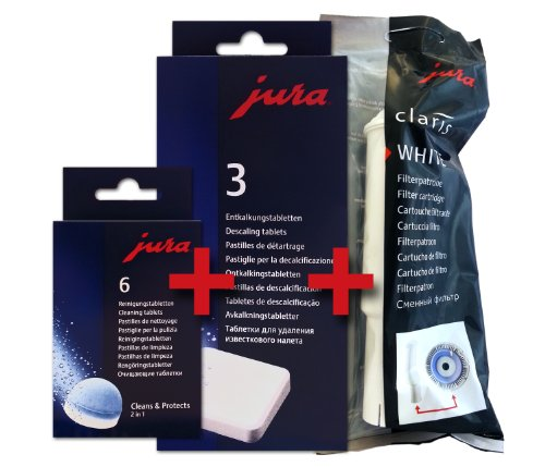 Descalling + Cleaning Tablets for Jura-Capresso Automatic Coffee and Espresso machines + Jura Claris White Combo pack (Jura E8 Water Filter compare prices)