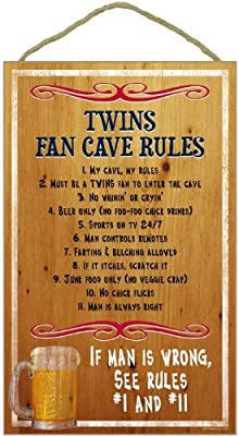 MLB Fan Cave Rules Wood Sign