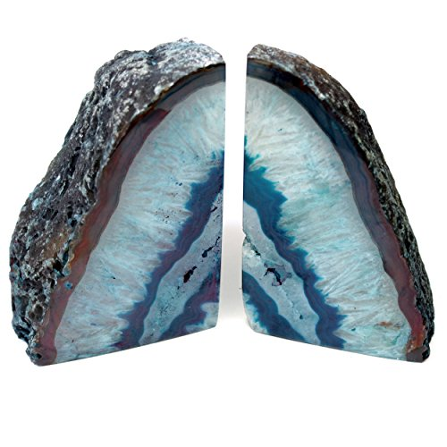 Brazilian Agate Bookends - Teal. Extra Quality 2-3 lbs