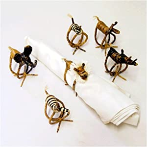 Napkin Rings 6-Set Banana Fiber Six Animals from Africa #NARK06