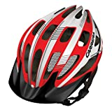 Carrera E0453 Hillborne 2 MTB Helmet with Rear Light - Red/White Shiny, 58-62 cm