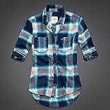 Hollister Co. ホリスター レディース 長袖 フランネル チェックシャツ ネルシャツ [ネイビー/ターコイズ] 並行輸入品