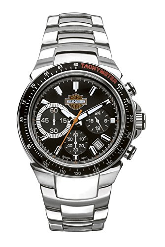 Harley Davidson Men's Quartz Watch with Black Dial Chronograph Display and Silver Stainless Steel Bracelet 78B113