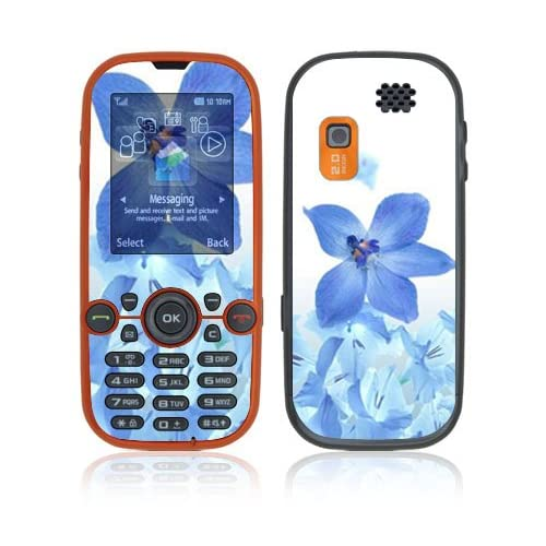Blue Neon Flower Decorative Skin Cover Decal Sticker for Samsung Gravity 2 SGH T469 Cell Phone