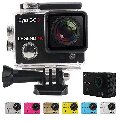 Eyes GO 3 LEGEND 4K - 16MP - + 33 accessori inclusi quale 7 gusci di colore consegnati - Marca francese - l'altissima definizione 2160p - Videocamera Sportiva - Action Cam - Cassa stagna 30 metri - Schermo LCD 2 pollici - WIFI - Applicazioni ANDROID - APP STORE