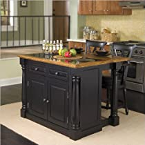 Big Sale Home Styles 5009-948 Monarch Granite Top Kitchen Island with 2 Stool, Black Finish