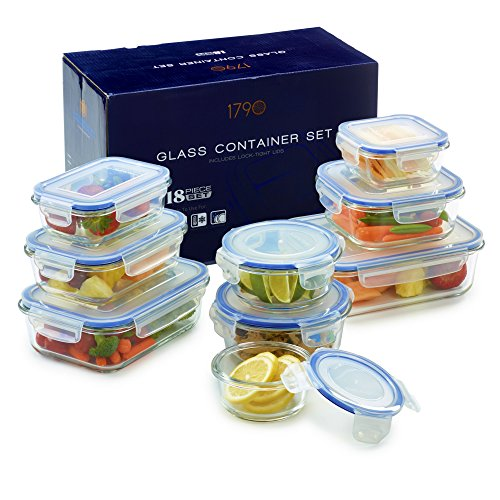 Glass Food Storage Container Set – BPA Free – Use for Home, Kitchen and Restaurant – Snap On Lids Keep Food Fresh With Airtight Seal Safe for Dishwasher, Freezer, Microwave and Oven(18 Piece)