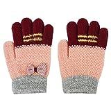 子供手袋 かわいい手袋 ニットグローブ 5本指 厚手 保温 防寒 秋 冬手袋 寒さ対策 男の子 女の子 キッズ 通学 お出かけ アウントドア おしゃれグローブ アクセサリー プレゼント ピンク