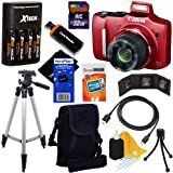 Canon PowerShot SX160 IS 16.0 MP Digital Camera with 16x Wide-Angle Optical Image Stabilized Zoom with 3.0-Inch LCD (Red) + 4 AA High Capacity Batteries with Quick Charger + 10pc Bundle 32GB Deluxe Accessory Kit w/ HeroFiber® Ultra Gentle Cleaning Cloth