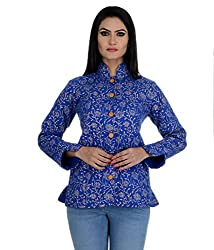 Aarohee Women's Block Printed Cotton Quilted Jacket( AAC34A_Royal blue_Medium)