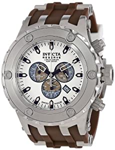 Invicta Men's 14172 Subaqua Reserve Chronograph Silver Dial Brown Polyurethane Watch