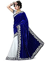 Nijanand Fashion Women's Blue Velvet & Net Saree With Blouse Piece