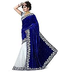 Indian Fashionista Blue Pink Plain Embriodered Bollywood Velvet Brasoo Saree