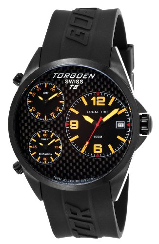 Torgoen Swiss Men's T08303 T8 3 Time Zone Aviation Watch