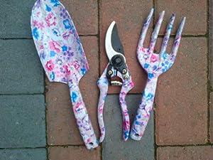 Ladies tool set pruners fork trowel flower pattern 3 types for Ladies garden trowel set