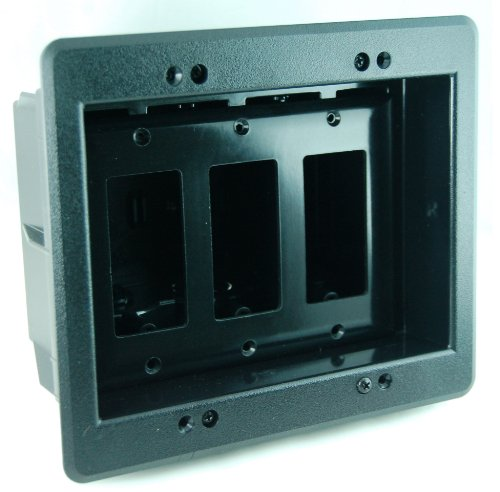 Arlington Dvfr3Bl-1 Recessed Electrical Outlet Mounting Box With Paintable Wall Plate, 3-Gang, Black