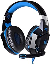 VersionTech Comfortable LED 3.5mm Stereo Gaming LED Lighting Over-Ear Headphone Headset Headband with Mic for PC Computer Game With Noise Isolation & Volume Control - Blue