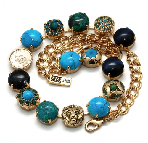 24K Yellow Gold Plated Splendid Necklace from 'Inspiration' Collection by Amaro Jewelry Studio Embellished with Sodalite, Amazonite, Chrysocolla, Turquoise, Lapis and Swarovski Crystals