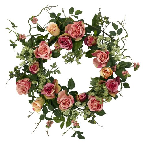 Nearly Natural 4802 Rose Wreath, 20-Inch, Peach