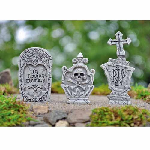 Fiddlehead Fairy Garden Miniature Garden Accessories - 3 Piece Tombstones For Halloween Decor Grave Stones