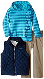 Calvin Klein Baby Boys\' Navy Vest with Hoody and Pants, Blue, 12 Months