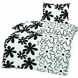 3 tlg. Bettwäsche 200 x 200 cm in schwarz/weiß aus Microfaser für Doppelbetten (Qualitätsware)