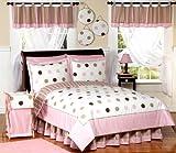 Pink and Brown Modern Dots Teen Bedding 3pc Full / Queen Set