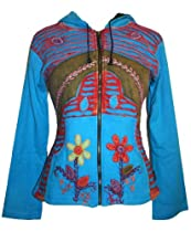 R-309 Embroidered Patch Funky Fleece Cotton Bohemian Jacket [XL, Blue]