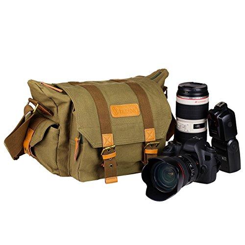 TARION® カメラ バッグ 一眼レフ カメラポーチ カメラケース カメラ・レンズ保護用 ソフトなクッションボックス 付き アウトドア撮影に 防水仕様 軽量 おしゃれ ショルダー 帆布 キャンバス素材 iPad収納可能 (ブラウン)