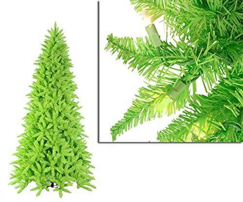 Vickerman Pre-Lit Slim Lime Green Ashley Spruce Christmas Tree with Clear and Green Lights, 9'