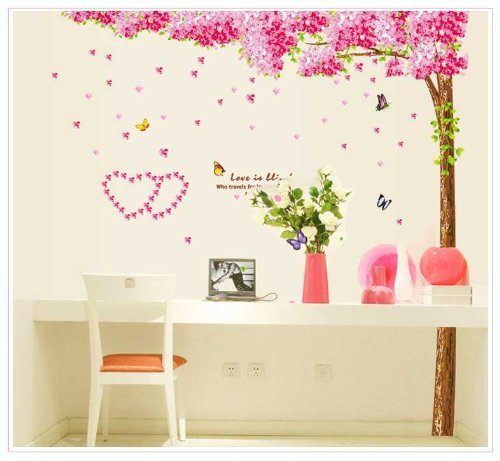 Toprate(Tm) Large Pink Sakura Flower Cherry Blossom Tree Photo Frame Wall Sticker Decals Pvc Removable Wall Decal Tv Sofa Background For Nursery Girls And Boys Children'S Bedroom front-64302