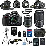 Nikon D5200 Black Camera with Nikon 18-55mm VR Lens Als Variety Premium Bundle with Deluxe + Nikon 55-300MM VR Lens + 2Pc Filter Kit + 32GB Bandwidth Memory Card + 15pc Accessory Bundle Kit