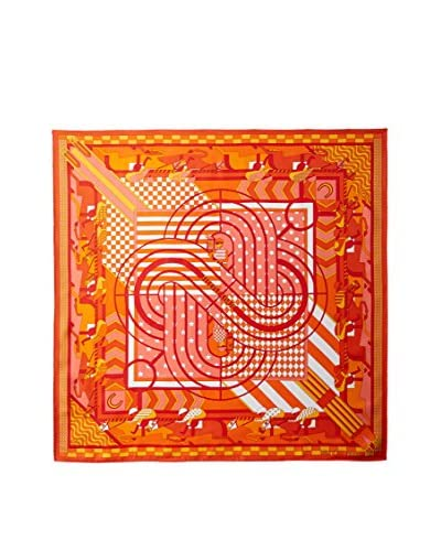 Hermès Women's Patterned Silk Twill Scarf, Orange/Red/Yellow
