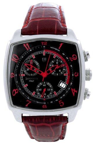 Lancaster Unico Medium 0262SRR - Reloj cronógrafo unisex de cuarzo con correa de piel roja
