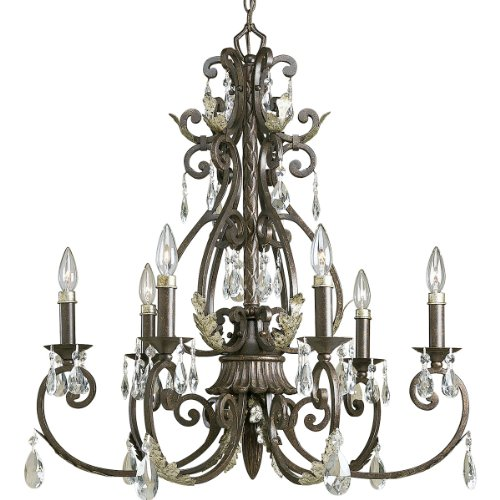B000OWH16U Progress Lighting P4545-72 6-Light Savona Chandelier, Cognac