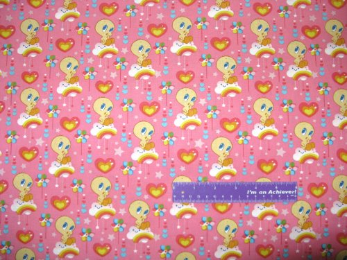 """43"""" Wide Tweety Bird Cloud 9 Pink Cotton Fabric By The Half Yard front-825614"""