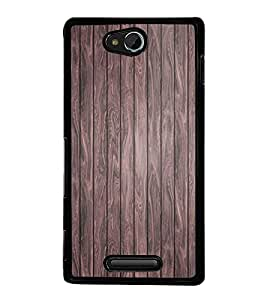 Fuson Premium 2D Back Case Cover Designed wood With blue Background Degined For Sony Xperia C