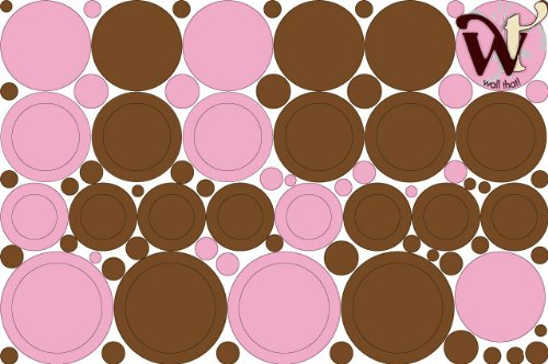 Dots and Circles Brown and Pink Wall Decor skin - 95 Piece set. by wallthatTM