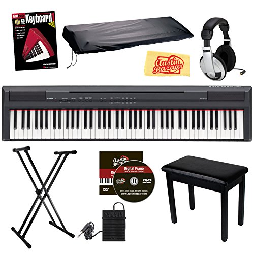 Yamaha P105B 88-Key Digital Piano Bundle With Padded Flip-Top Bench, Stand, Dust Cover, Sustain Pedal, Headphones, Instructional Book, And Polishing Cloth